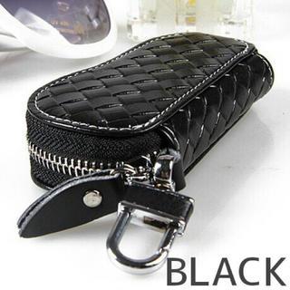 高品質 編み込み レザーキーケース スマートキー 黒  bag-59-BL(キーケース)
