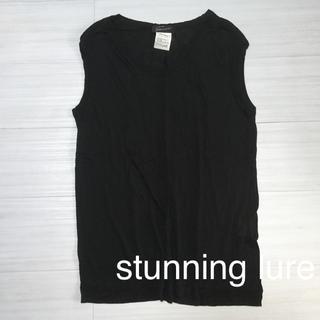 スタニングルアー(STUNNING LURE)の美品 スタニングルアー  黒 フレンチスリーブ Tシャツ S(Tシャツ(半袖/袖なし))