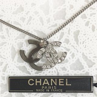 CHANEL - 正規品 シャネル ネックレス ダブル ココマーク シルバー ラインストーン 石