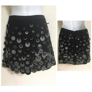 ナネットレポー(Nanette Lepore)のナネットレポー ブラック pailette シルク スカート(ミニスカート)