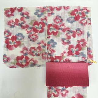 ツモリチサト(TSUMORI CHISATO)の浴衣 花柄 ピンク 帯 半幅帯 ブランド浴衣 ゆかた(浴衣)