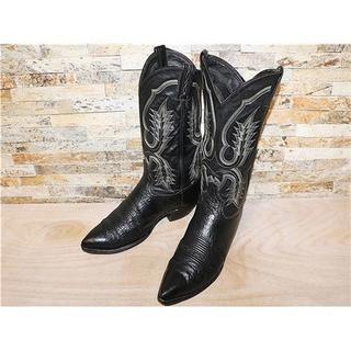 トニーラマ(Tony Lama)の最高級品 美品 トニーラマ ブルハイド革 ウエスタンブーツ 黒 29,5cm(ブーツ)