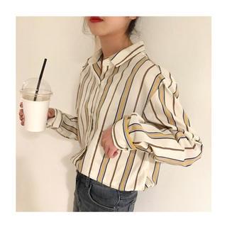 ZARA - ストライプシャツ ブラウス シンプル  韓国ファッション 柄シャツ プリント