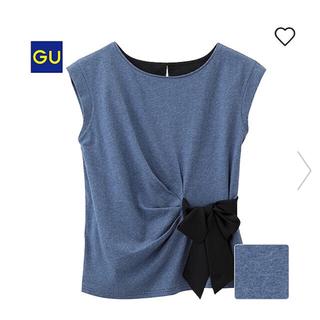 ジーユー(GU)の完売☆超美品☆GU☆Tブラウス(サイドリボン・半袖)ネイビー☆M(Tシャツ(半袖/袖なし))