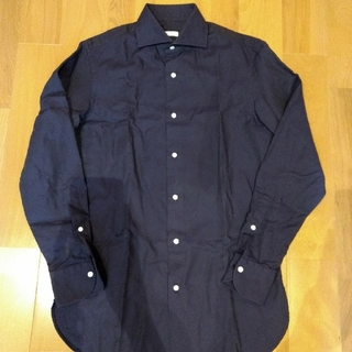 エディフィス(EDIFICE)のEDIFICE エディフィス ホリゾンタルカラーシャツ ネイビー(シャツ)