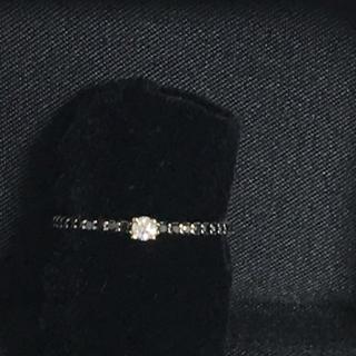 K18WGブラックダイヤリング