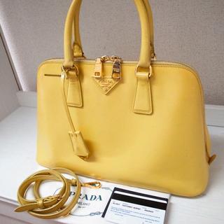 PRADA - 正規品♡最安値♡プラダ 2wayバッグ パテント 黄色 バッグ 財布 レザー