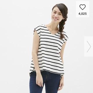 ジーユー(GU)のGU ボーダーフレンチスリーブT(Tシャツ(半袖/袖なし))