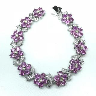 1350 ピンクサファイア22.32ct ダイヤモンド2.13ct ブレスレット(ブレスレット/バングル)