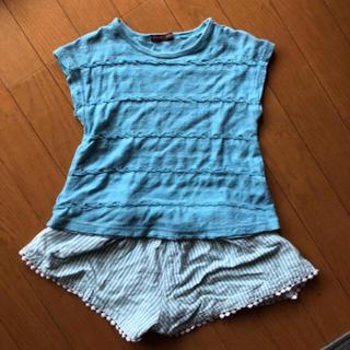 スタジオミニ(STUDIO MINI)のスタジオミニ 80 2点セット ブルーコーデ 半袖シャツ キュロット(Tシャツ)