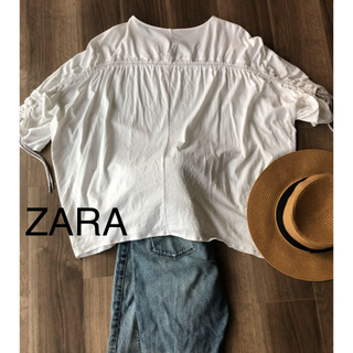 ザラ(ZARA)のZARAバックシャーリングドルマントップス2017SS(カットソー(半袖/袖なし))