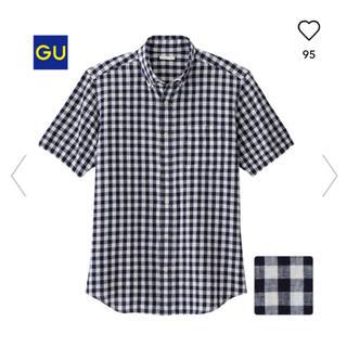 ジーユー(GU)のGU リネンブレンド ギンガムチェックシャツ ネイビー ホワイト Mサイズ(シャツ)
