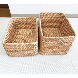 MUJI (無印良品) - 無印良品 重なるラタン長方形ボックス小 二個セット