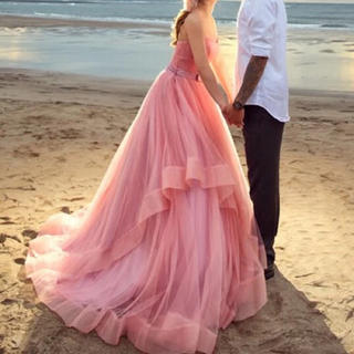 薄い小豆ピンクのウェディングドレス、色変更無料(ウェディングドレス)