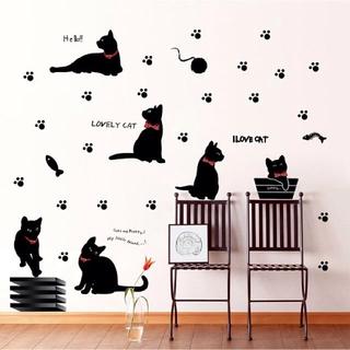 ウォールステッカー 黒猫 6匹 足跡 壁シール LOVE 可愛い 肉球 くろねこ(その他)