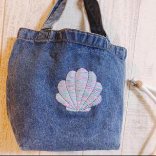 【名入れ無料】シェル刺繍 デニムトートバッグ デニムバッグ レインボーシェル