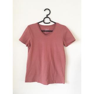 ムジルシリョウヒン(MUJI (無印良品))の無印 オーガニックコットンVネック半袖Tシャツ(ピンクベージュ)無印良品MIJI(Tシャツ(半袖/袖なし))