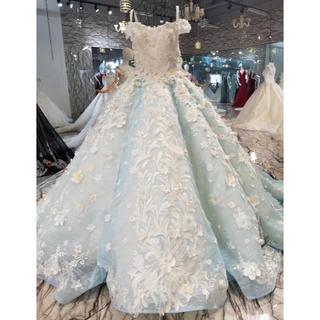 水色、レース花、豪華なウェディングドレス、本日限定品(ウェディングドレス)