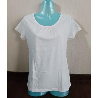 シネマクラブ(CINEMA CLUB)の美品 胸ギャザー 白Tシャツ(Tシャツ(半袖/袖なし))