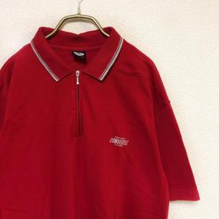 コンバース(CONVERSE)の【90s】converse LOGO ポロシャツ メンズ XL 旧タグ 古着 赤(ポロシャツ)