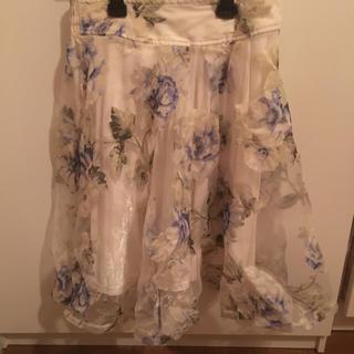 アンティローザ(Auntie Rosa)のauntie rosa オーガンジー 花柄スカート(ひざ丈スカート)