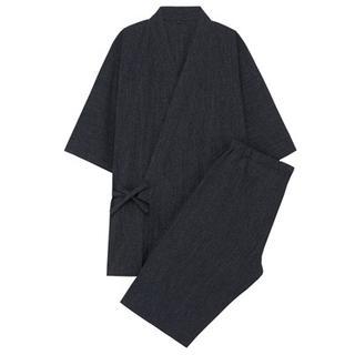 MUJI (無印良品) - 無印良品 オーガニックコットンしじら織り 甚平 紳士M・ダークネイビー