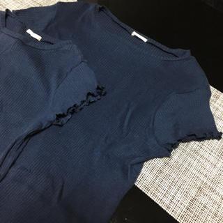 ジーユー(GU)のGU親子ペアフリル袖リブTシャツ(Tシャツ/カットソー)