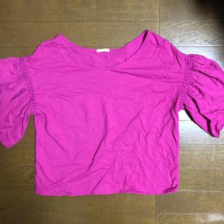 ジーユー(GU)のGU 袖フリル トップス(カットソー(半袖/袖なし))