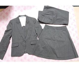 アオキ(AOKI)のLESMUESスーツ3点セット♡︎ジャケットパンツスカート♡︎グレー(スーツ)