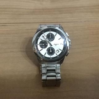 Agnes b アニエスベー 腕時計 クロノグラフ シルバー×黒