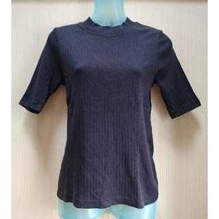 ユニクロ(UNIQLO)の美品 五分袖ハイネックリブTシャツ ネイビー(Tシャツ(半袖/袖なし))