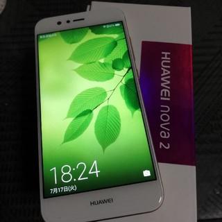 【中古美品】HUAWEI nova2 ゴールド simフリー UQ(スマートフォン本体)
