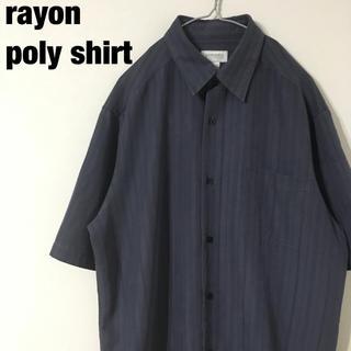 古着 rayon×poly レトロ デザインシャツ(シャツ)