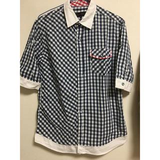 チェック半袖シャツ メンズ ブルー,ネイビー(シャツ)