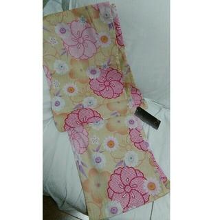 新品♪浴衣花柄古典柄桜黄色