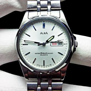 アルバ(ALBA)のALBA アルバ メンズ腕時計 文字盤シルバー 曜日・日付機能付(腕時計(アナログ))