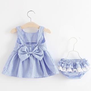 海外 Baby & Kids ★【新品】ストライプリボンOPセット ★ブルー(ワンピース)