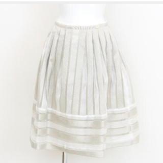 FOXEY - 【新品同様】ロゴ付き  フォクシー プラチナ ボーダー スカート