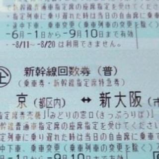 新幹線 東京(都区内) ↔︎ 新大阪(市内) 2枚
