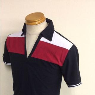 M~Lサイズ コムサイズム 半袖ポロシャツ ブラック×ホワイト×レッド
