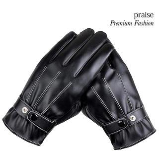 メンズ レザーグローブ 手袋 液晶タッチ グローブ ブラック(手袋)
