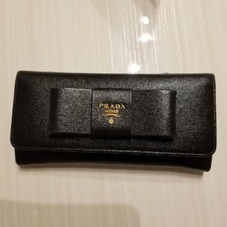 PRADA - プラダ PRADA リボン 長財布 ブラック USED