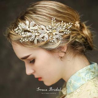 パールとビジューの小枝ヘッドドレス クリップタイプ ゴールド fh01