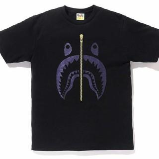 アベイシングエイプ(A BATHING APE)のGLITTER SHARK TEE  black purple シャークTシャツ(Tシャツ/カットソー(半袖/袖なし))