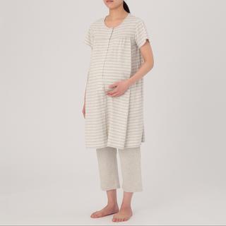 MUJI (無印良品) - 無印良品 新品未使用 授乳に便利な半袖パジャマ ライトグレー