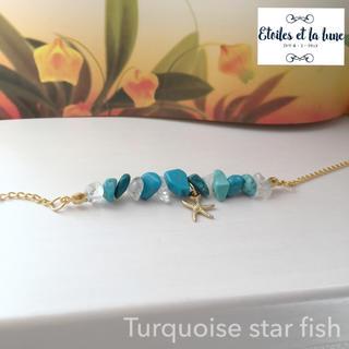 さざれ石 ターコイズ + 水晶 〜 star fish 〜 マーメイド ブレス(ブレスレット/バングル)