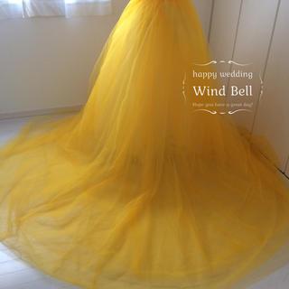 新品♡4層♡巻きスカートタイプ♡オーバースカート♡トレーン♡山吹色(ウェディングドレス)
