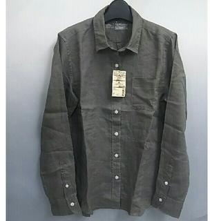 MUJI (無印良品) - 新品 無印良品 フレンチリネン洗いざらしシャツ・カーキベージュ・M