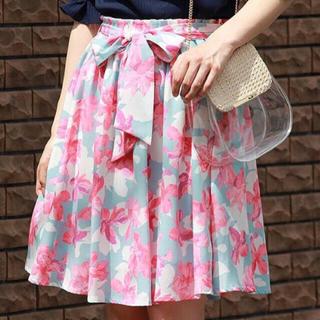 アストリアオディール(ASTORIA ODIER)のアストリア花柄リボンスカート(ひざ丈スカート)