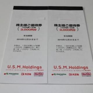 ユナイテッドスーパーマーケット株主優待券割引券6000円分 送料無料(ショッピング)